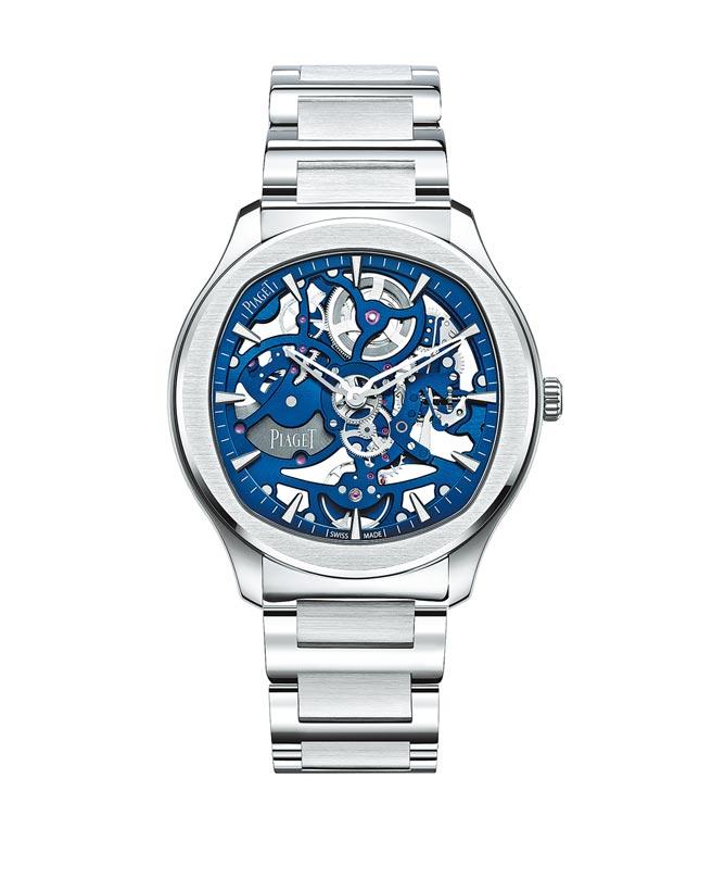 伯爵Polo系列伯爵藍鏤空超薄精鋼腕表,89萬5000元。(PIAGET提供)