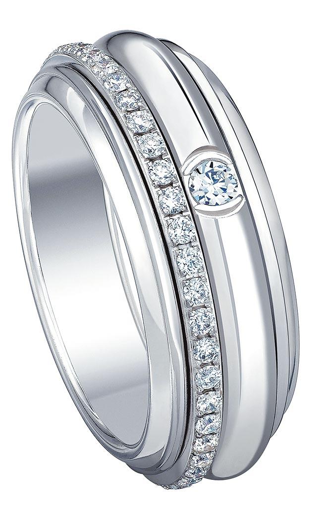 伯爵Possession系列18K白金鑽石戒指,19萬5000元。(PIAGET提供)