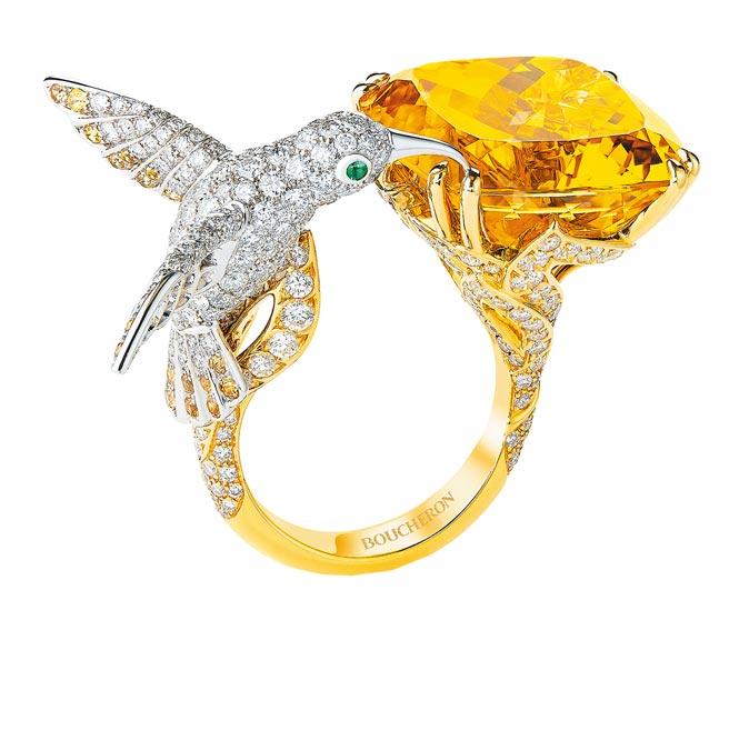 寶詩龍Hopi蜂鳥戒指,283萬。(Boucheron提供)