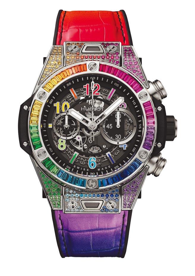 宇舶表Big Bang Unico彩虹寶石鈦金計時碼表,219萬1000元。(宇舶表提供)