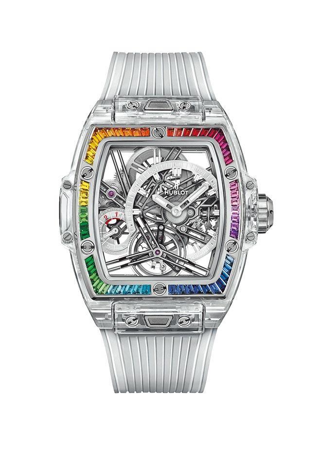 宇舶表pirit of Big Bang陀飛輪五日鍊彩虹寶石腕表,572萬3000元。(宇舶表提供)