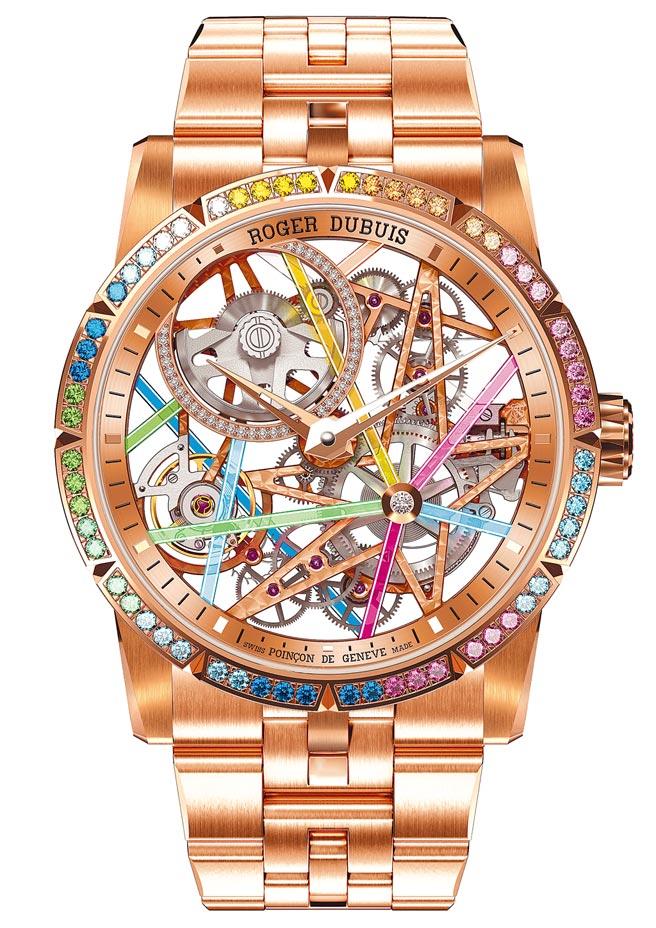 羅杰杜彼Excalibur Blacklight鏤空玫瑰金彩虹圈腕表,限量28只,412萬5000元。(羅杰杜彼提供)