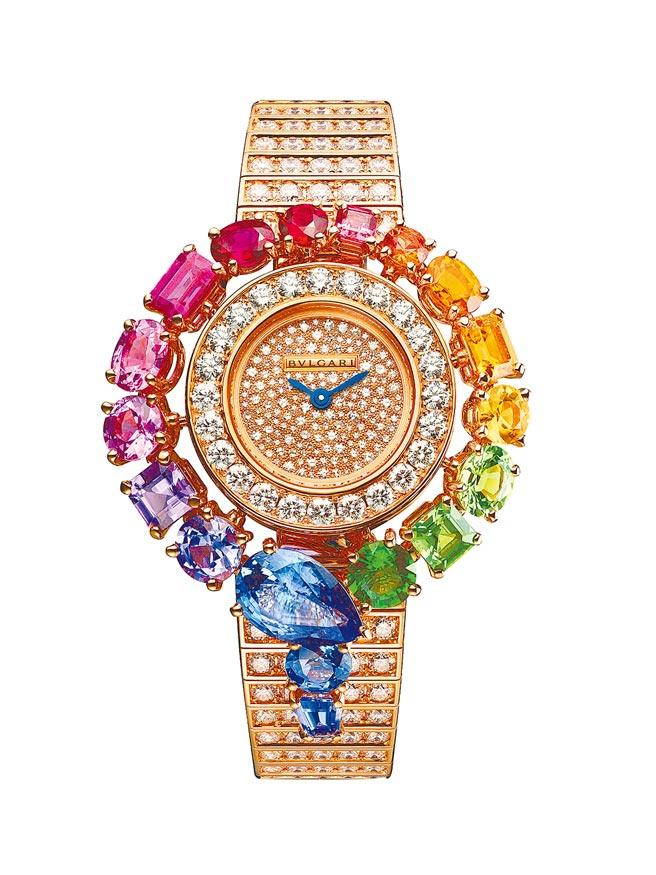 寶格麗鑲滿彩寶的Serpenti Incantati Rainbow彩虹圈腕表,703萬3000元。(寶格麗提供)
