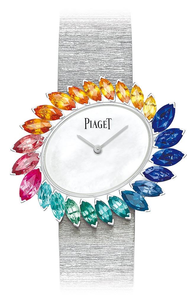 伯爵Wings of Light系列頂級珠寶羽翼寶石腕表,以彩色寶石打造如彩色蜂鳥的羽翼,406萬元。(伯爵提供)