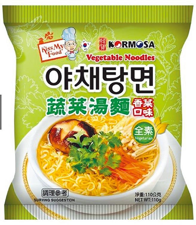 OK超商韓寶KORMOSA蔬菜湯麵-香菜口味,39元。(OK提供)