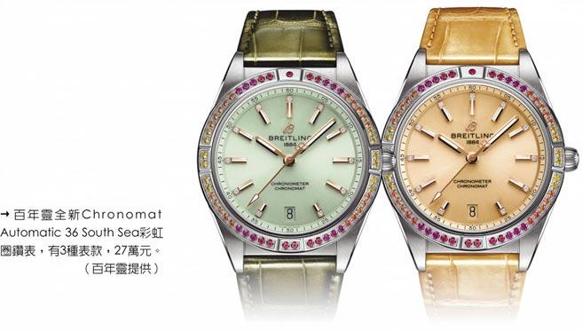 百年靈全新Chronomat Automatic 36 South Sea彩虹圈鑽表,有3種表款,27萬元。(百年靈提供)