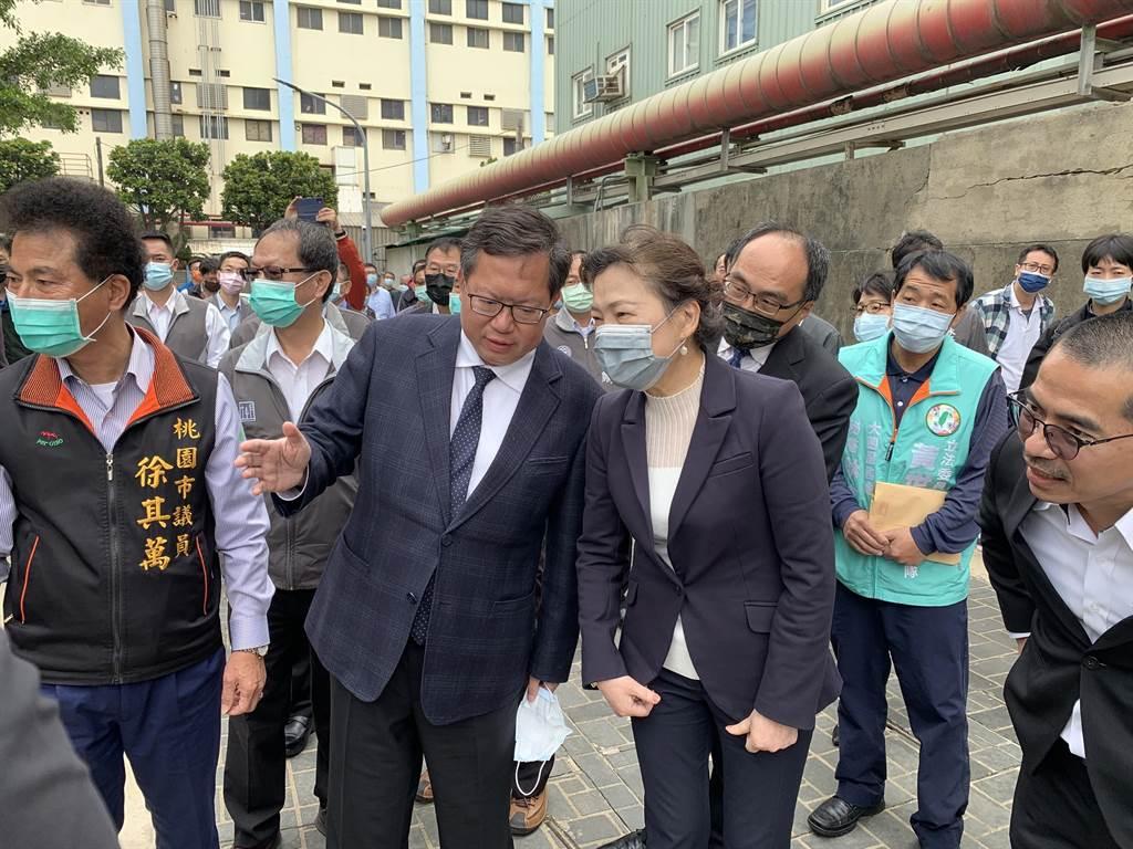 經濟部長王美華6日上午出席大園潔淨老街溪記者會。(姜霏攝)