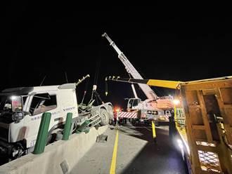 台61西濱3輛拖板車追撞致3傷 通霄段雙向一度中斷