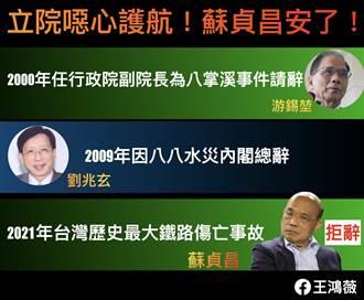 台鐵事件立院上演「保蘇」戲碼 王鴻薇斥:蘇揆安了 民心能安嗎
