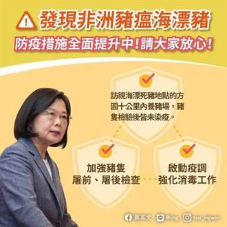 台灣本島首次發現非洲豬瘟海漂豬 總統:防疫全面提升