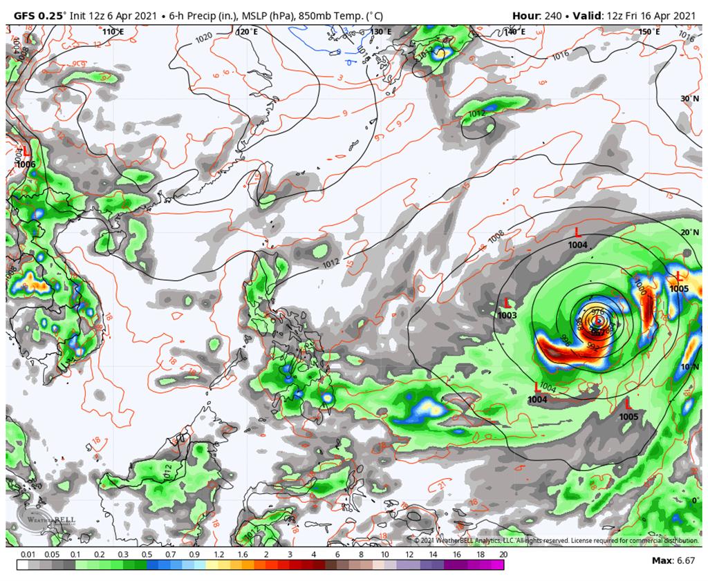 美國模式則預測,熱帶擾動明顯偏強而且偏遠洋。(翻攝自 吳聖宇FB)