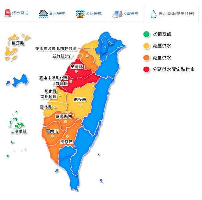 新竹、嘉義、台南、高雄等4縣市目前是減量供水,若再不下雨,這4縣市恐怕也要供5停2。(翻攝自 水利署網站)