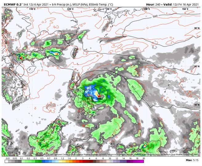 歐洲模式模擬,下周可能會有熱帶擾動,若發展成颱將是今年第二號颱風「舒力基」(Surigae)。(翻攝自 吳聖宇臉書)