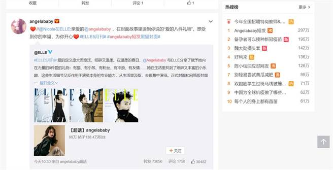 微博以「Angelababy短髮」登上微博熱搜榜冠軍,討論度超夯。(圖/取材自微博)