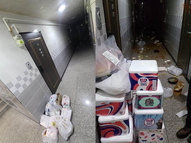 女子至少訂了10袋的外送食物,公寓走廊地上堆了超過10個冰淇淋外盒。(圖/截自臉書천안 대신전해드려요)