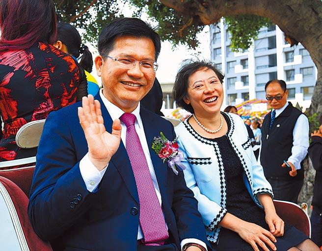 交通部部長林佳龍夫婦。(本報資料照片)
