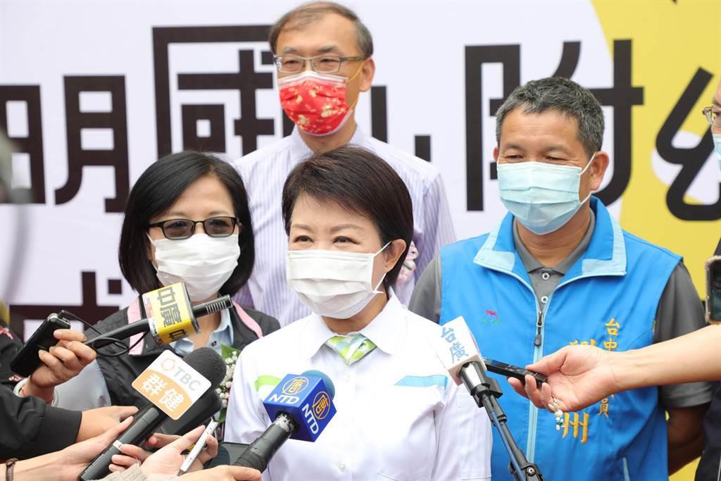 台中市長盧秀燕7日表示,因供5停2為連續兩天停水,第2天是觀察重點;若出現問題,市府會討論因應及解決方式。(陳世宗攝)