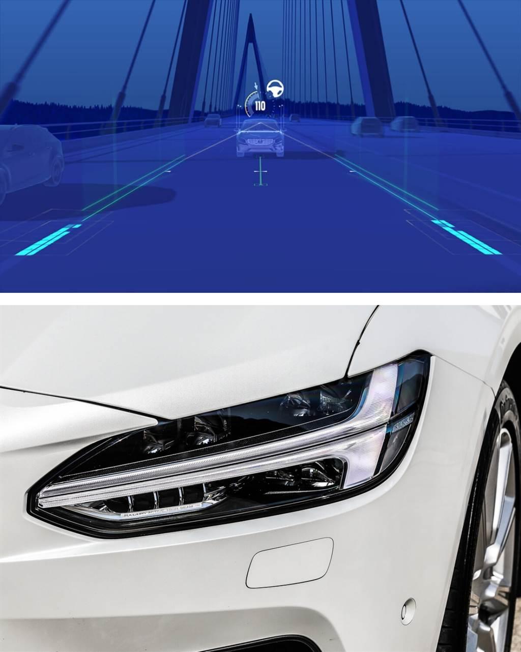 T形「雷神之鎚」頭燈為新世代Volvo外觀上的主要識別。而且更值得一提的是,可偵測來車主動變換照射範圍的AHB主動適路性照明系統,為S90全車系標配項目。這個配備在多數進口車款大都還列為加價選配。