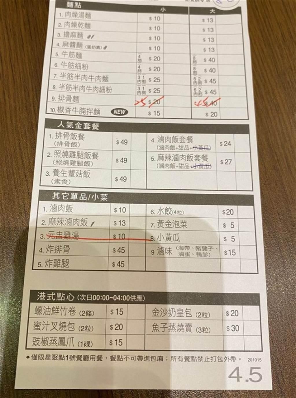 整張菜單上的品項皆未超過50元,令不少網友看了十分心動。(圖/翻攝自Dcard)