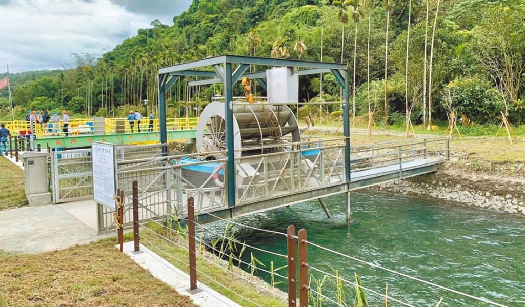 蘭陽電廠「流速型微水力測試平台」啟用,「1滴水可利用4次」。(台電提供)