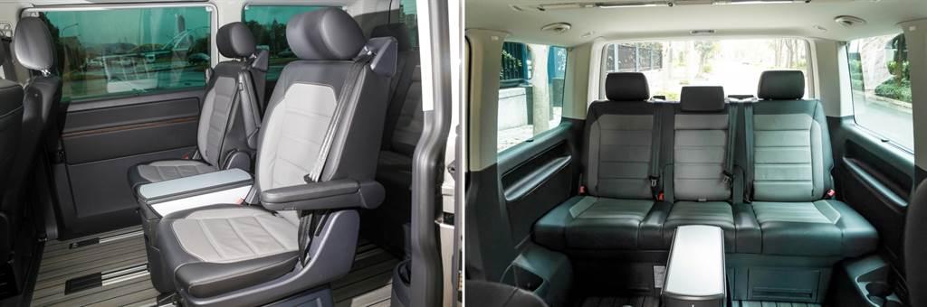 乘客艙部分,第二排採用兩張獨立座椅,兩側皆有扶手設計,不過中央會議桌的設計使其不向多數2/2/3配置的七座車款具備中央走道,進出第三排仍得將第二排座椅向前移動。