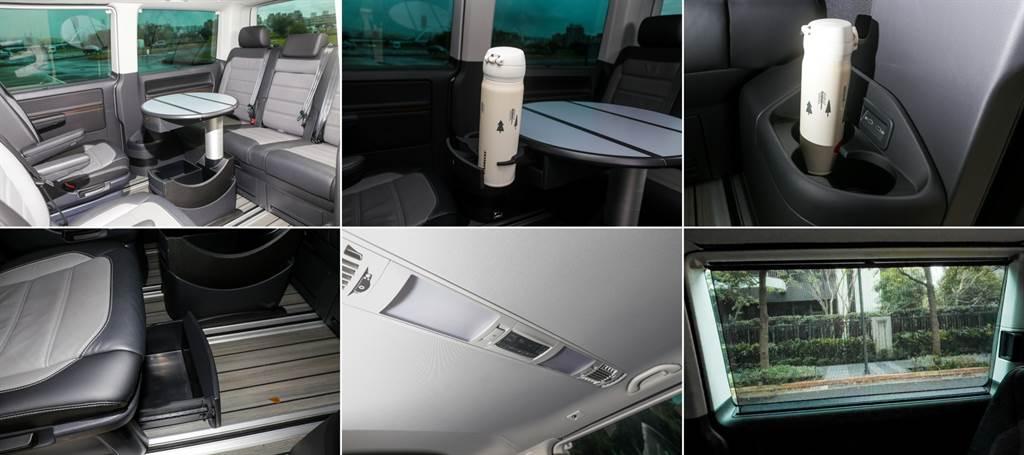 座椅調整皆為手動設計,稍微熟悉即可上手,中央圓桌內建置杯架,除了作為商務會議使用,闔家出遊作為餐桌也相當合適。而置物空間的規劃也相當完善,每張座椅下方都有一個小型置物盒,鄰近座位處也能找到置杯架可供使用。