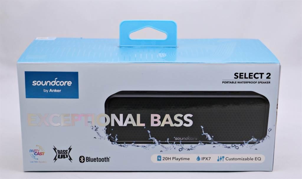 Anker A3125 SoundCore Select 2防水藍牙喇叭外盒。(黃慧雯攝)