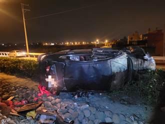 醉婦與夫口角駕車外出自撞 座車嚴重凹陷飄酒氣