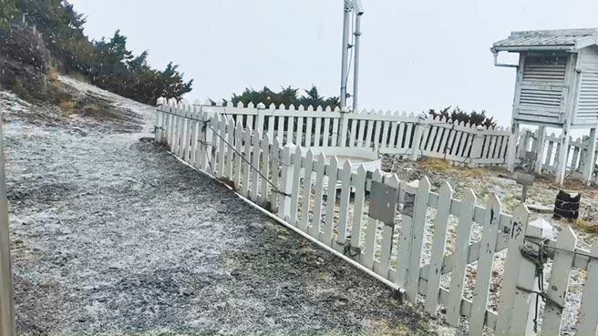 玉山10日從上午11時55分開始下冰雹,四月天出現雪白景象,有如浪漫童話世界。(中央氣象局提供/盧金足台中傳真)