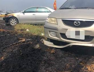 台南妇人心情差就放火烧草 失手毁了2辆车还赖帐不赔