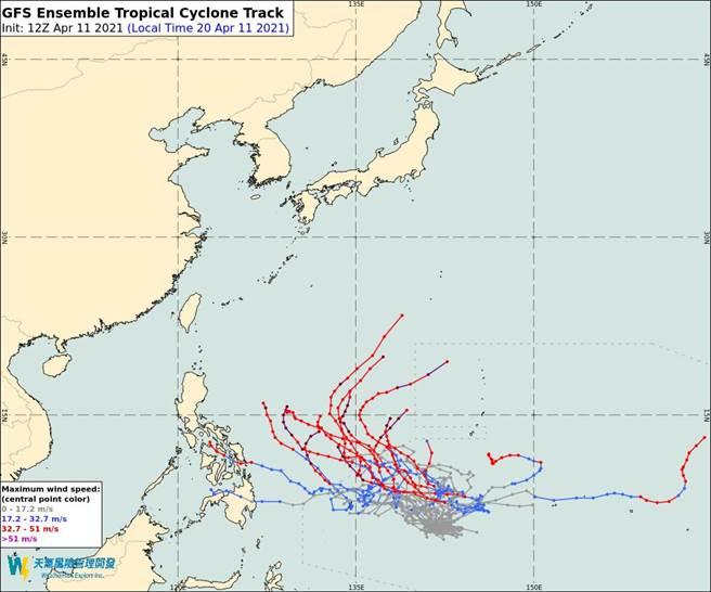 圖為美國模式模擬,「舒力基」颱風生成後會北上,反而讓春雨、午後雷陣雨來不了。(翻攝自 彭啟明臉書)