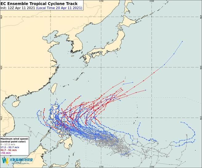 圖為歐洲模式也模擬,「舒力基」颱風會往北走。(翻攝自 彭啟明臉書)