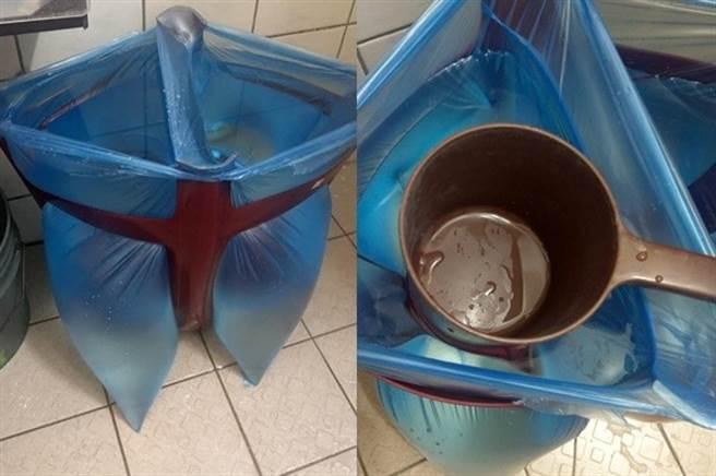 網友PO出用椅子加塑膠袋儲水,直接放在廁所洗手用,方便又省空間,(圖/截自臉書大里人聊天室)