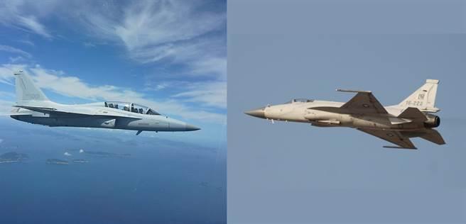 馬來西亞挑戰輕型戰機,最可能入選的是FA-50(左),或是JF-17(右)。(圖/韓國空軍、巴基斯坦空軍)