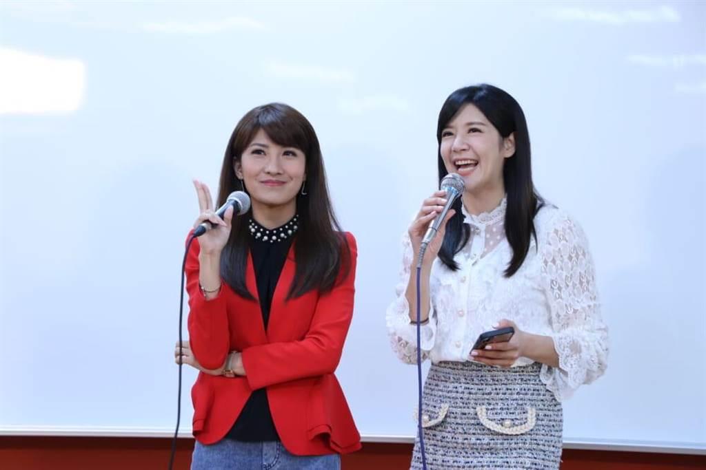 中天主播鄭亦真、李珮瑄13日前進臺灣藝術大學開講。(中天電視提供)