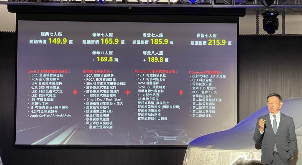 森那美起亞總裁李昌益宣布KIA Carnival車型售價,同時表示至4月12日止已接獲破260張預售訂單。