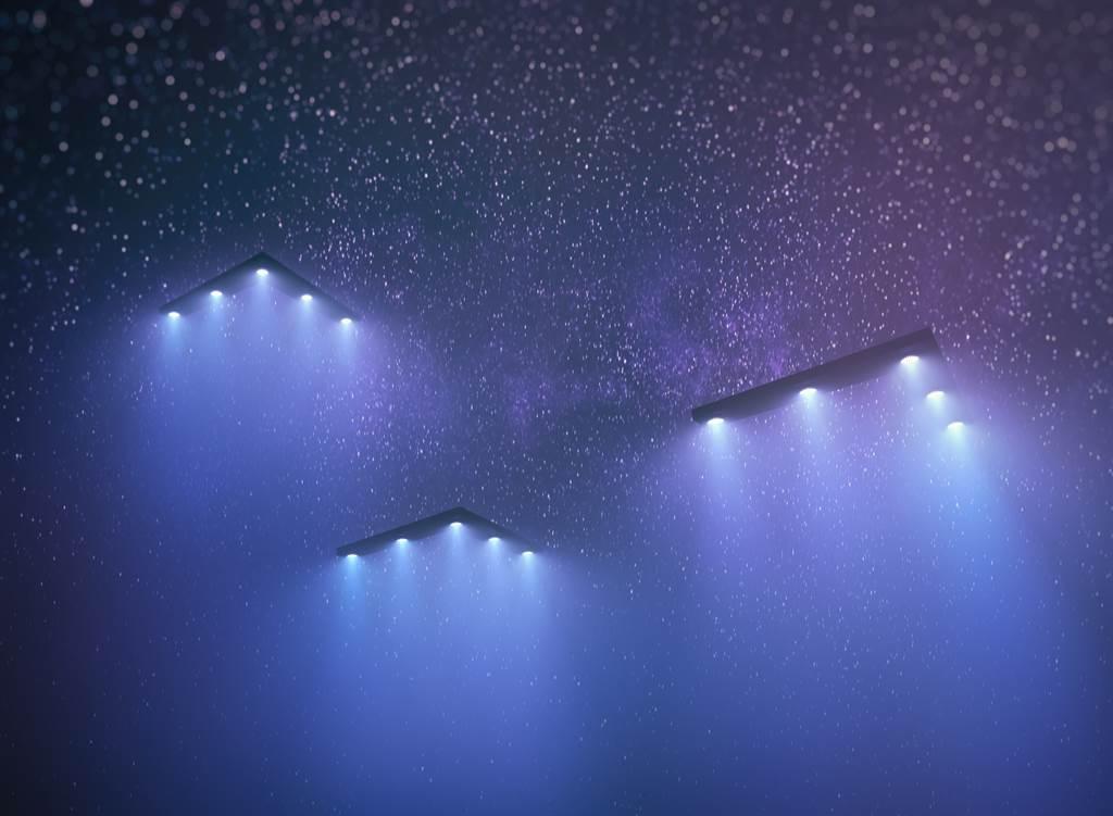 五角大廈已證實,2019在加州海岸外有不明飛行物圍著美國海軍戰艦繞,圖為幽浮(UFO)的示意圖。(達志影像/Shutterstock)