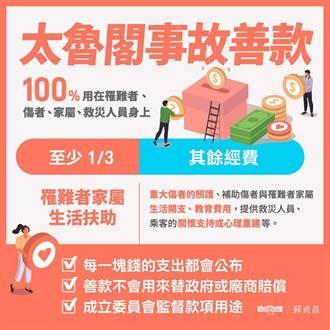 太魯閣善款破8.7億 蘇貞昌:不會用在政府賠償