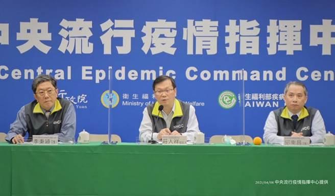 指揮中心認為,AZ疫苗的血栓副作用即為罕見,施打方針不變。(圖/指揮中心提供)