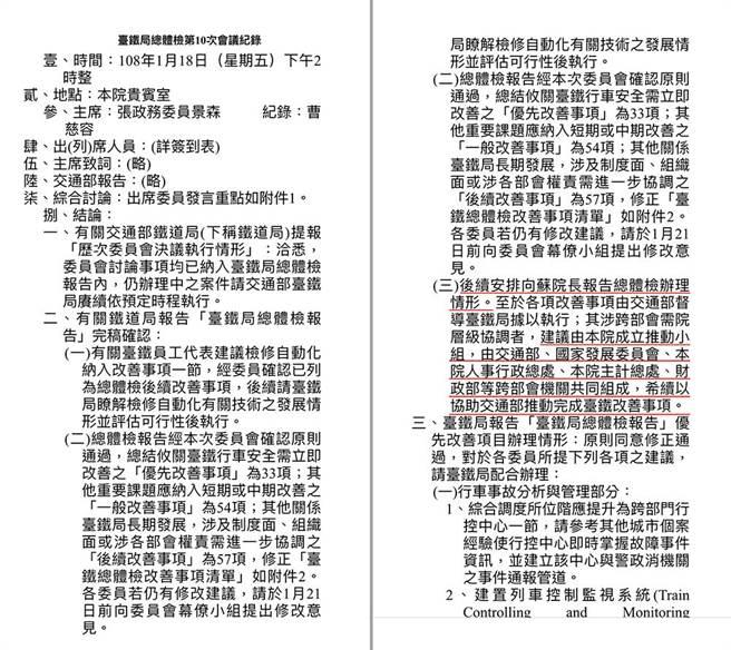 台鐵改革小組會議紀錄,載明要向蘇揆報告等結論。(國民黨提供)