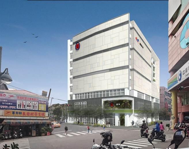 中華郵政首度投資興建第一座郵局複合式影城大樓,對彰化市光復路郵局提出改建招商計畫,斥資4.5億元,13日正式動工興建,預計2023完工。(中華郵政提供/謝瓊雲彰化傳真)