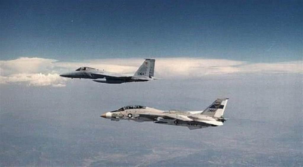 白色戰機是F-14,灰色戰機是F-15,這兩大戰機很少同時入鏡。(圖/美國空軍)