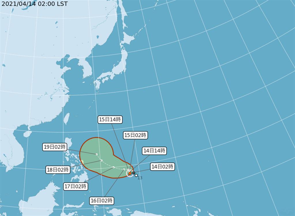 位於菲律賓東南方海面的熱帶性低氣壓,今(14日)凌晨2時發展為今年第2號輕度颱風舒力基(SURIGAE)。(氣象局)