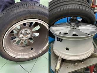 國道上爆胎發現輪框遭貫穿大洞 民眾見圖嚇傻:踩到地雷?