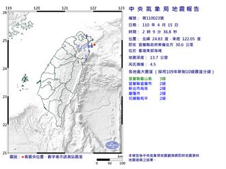台灣東部海域地震規模4.5 最大震度宜蘭縣3級