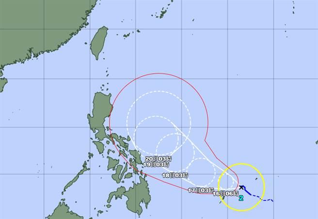 舒力基移動至菲律賓東方海域時,將大幅度北轉遠離。(翻攝日本氣象廳)