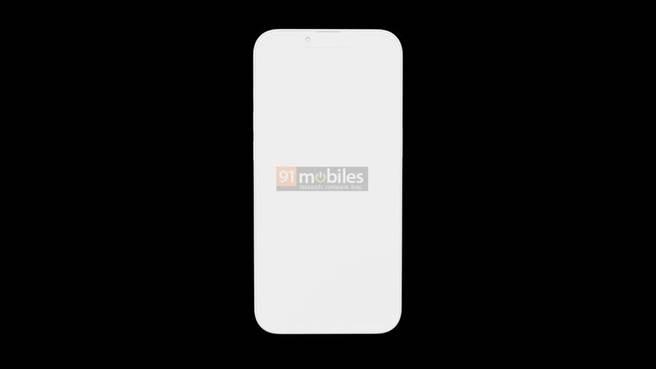 91mobiles網站曝光的iPhone 13 Pro渲染圖,此為正面螢幕樣式。(摘自91mobiles)