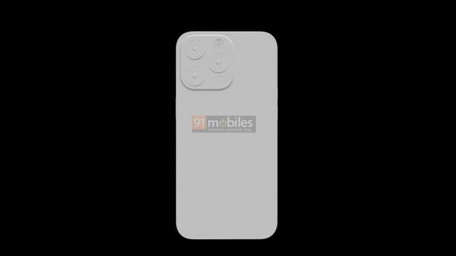 91mobiles網站曝光的iPhone 13 Pro渲染圖,此為背面主相機樣式。(摘自91mobiles)