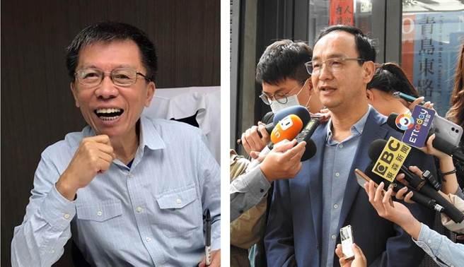 沈富雄(左)稱「朱當主席2024會爆掉」,朱立倫(右)反吐槽:他每次挺誰誰就爆掉。(中時資料照)
