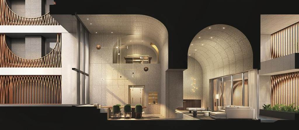 國際設計團隊Neri&Hu (如恩設計)除了在台北「金普頓大安酒店」操刀室內設計外,現在更大陸建設強強聯手,在天母推出台灣第一個建築設計案「鐫月」,圖為公設區建築剖面示意。(業者提供)